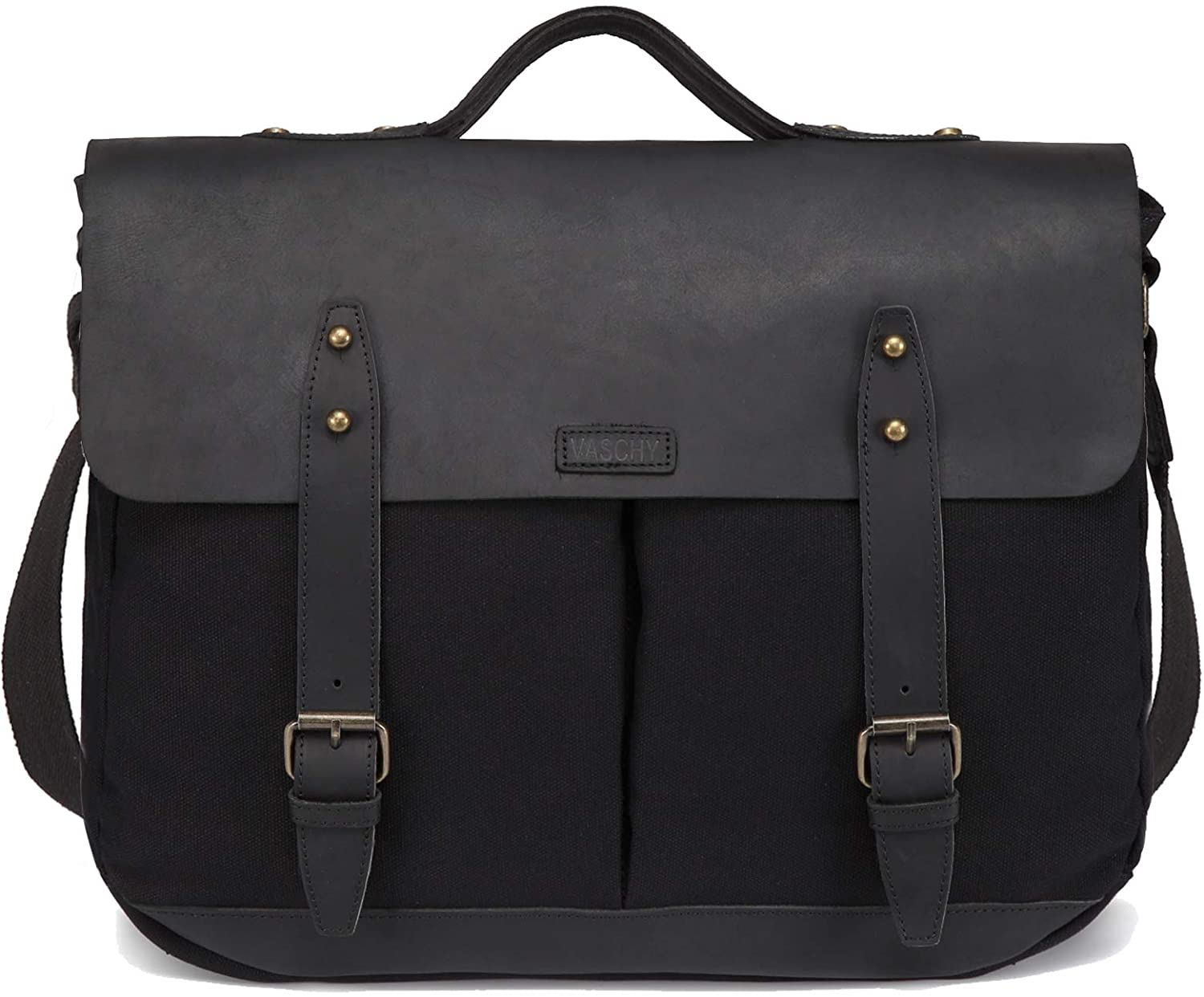 Vaschy Vintage satchel 15.6 inch laptop business briefcase for young teachers