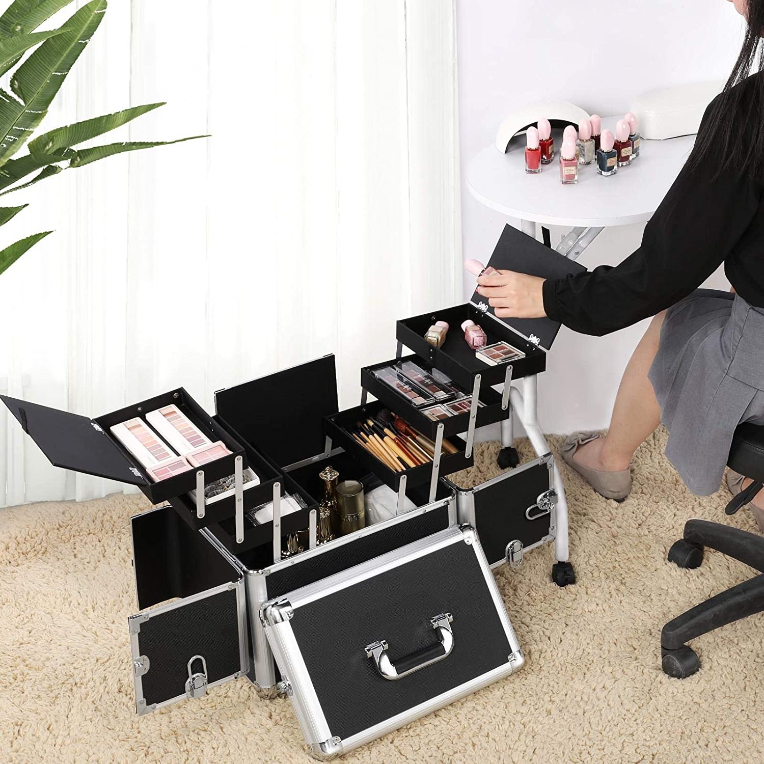 Yaheetech trolley makeup case professional trolley