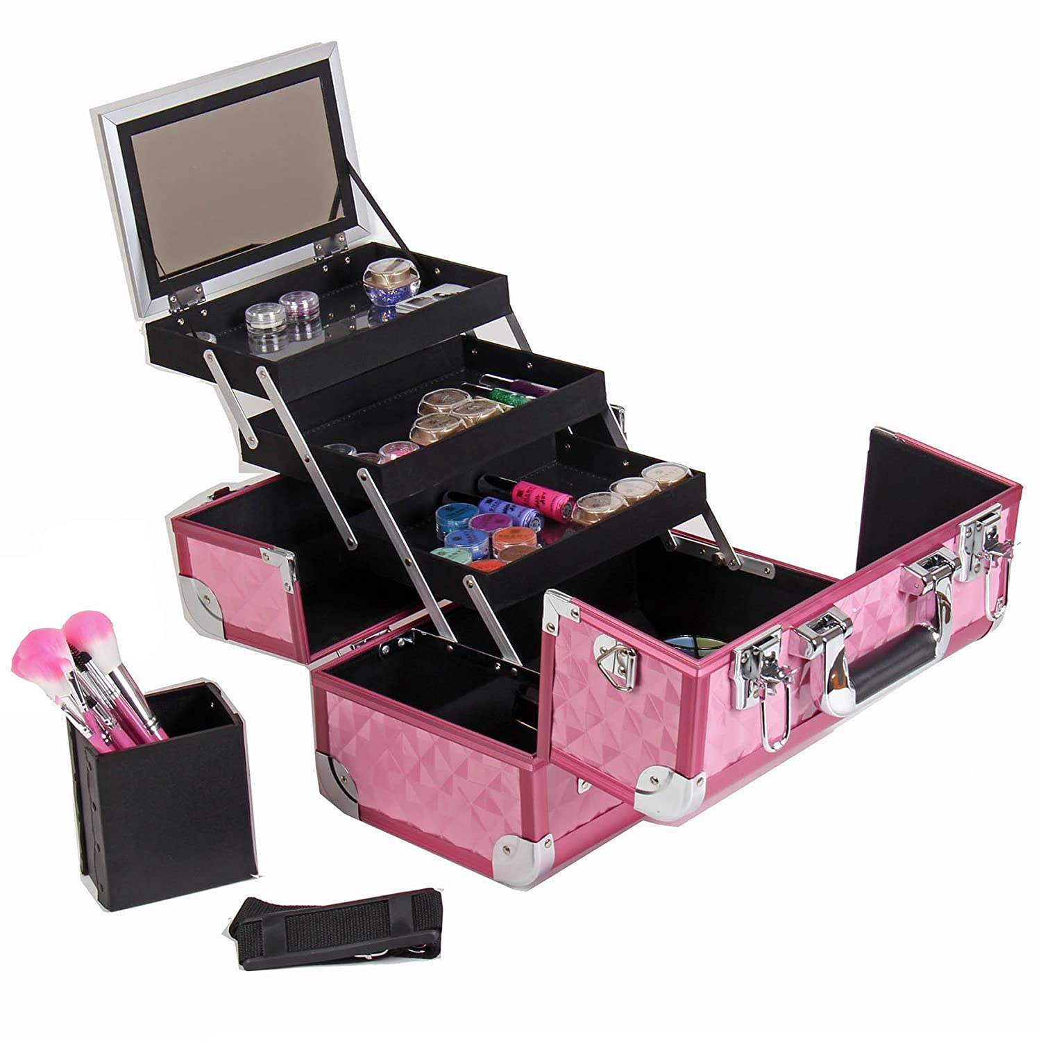 Professional and original makeup case in pink gold colour