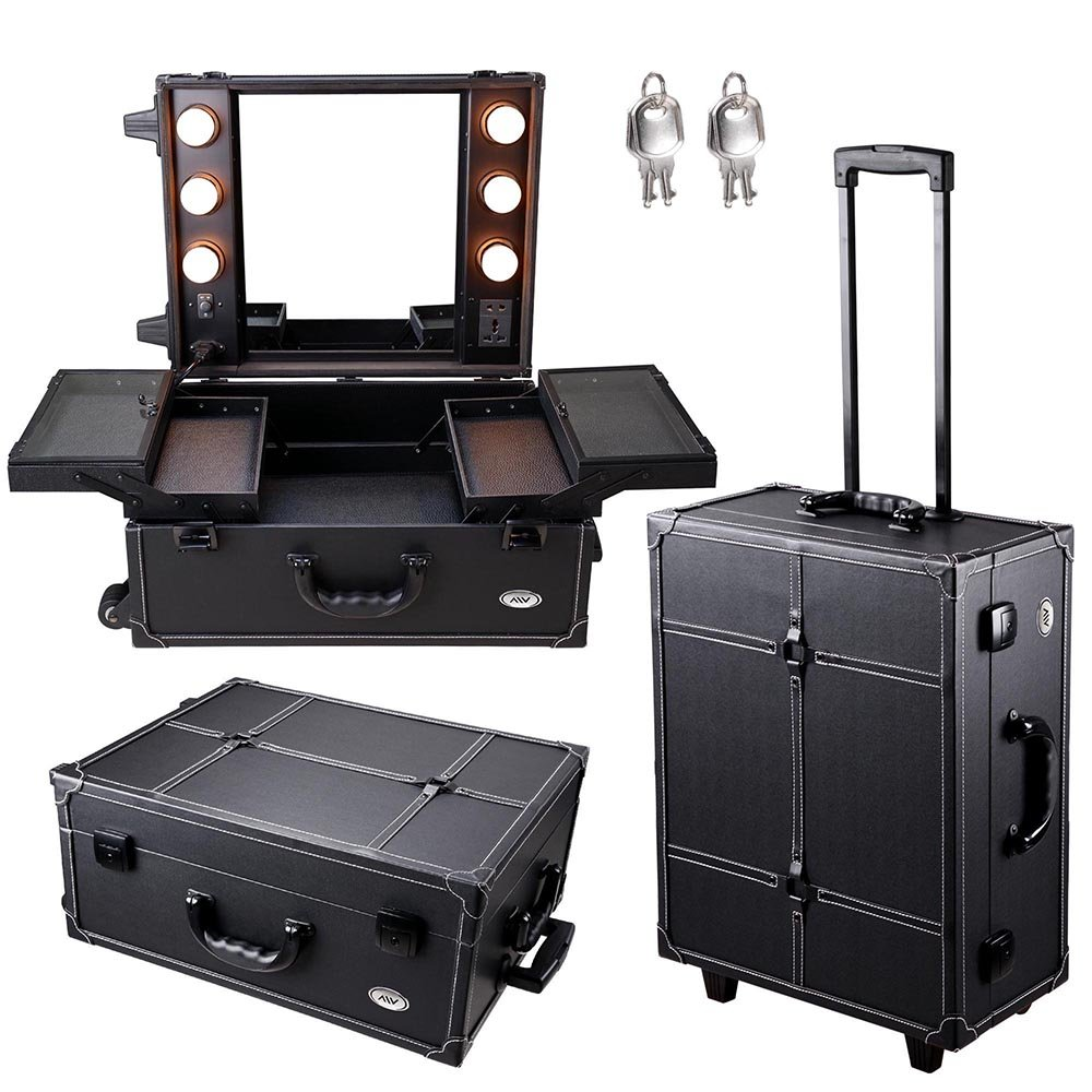 Professional makeup case equipped with mirror and LED bulbs and plugs, professional look and design