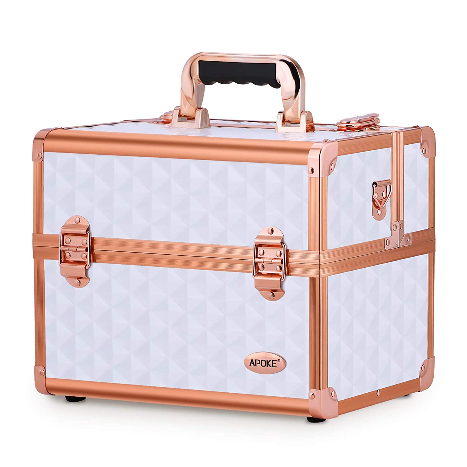 White and pink gold Vanity professional makeup case with mirror