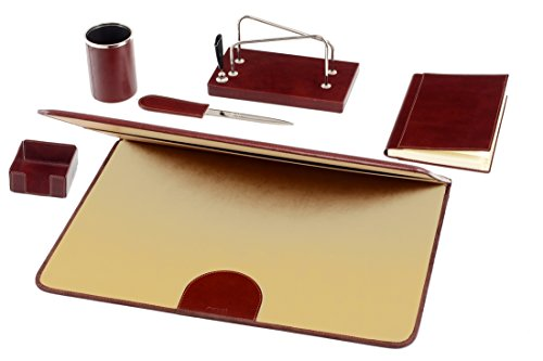 Red Italian leather doctor's desk mat Maruse and desk set in leather