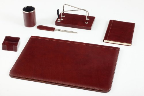 Maruse red Italian leather desk mat and desk set in red leather