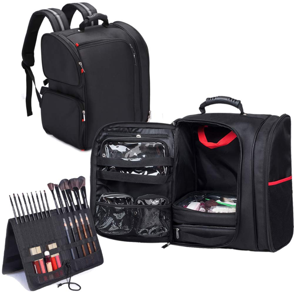 Black professional makeup backpack with handy storages
