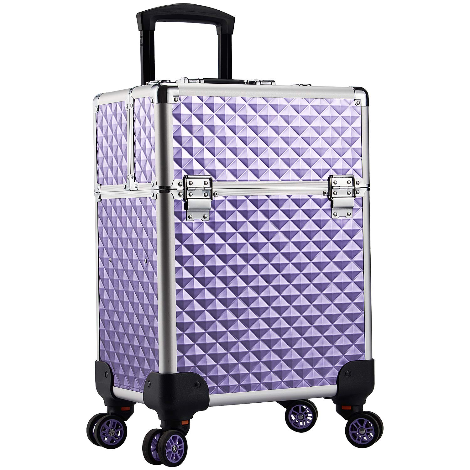 Purple professional trolley makeup case