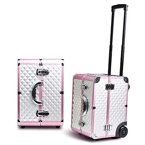 Grey and pink Beauty case with wheels