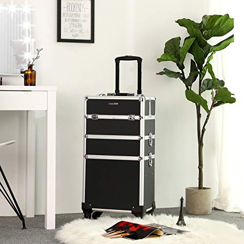 Songmics Trolley, the makeup case is the perfect mobile storage unit for make-up at home or in beauty salon