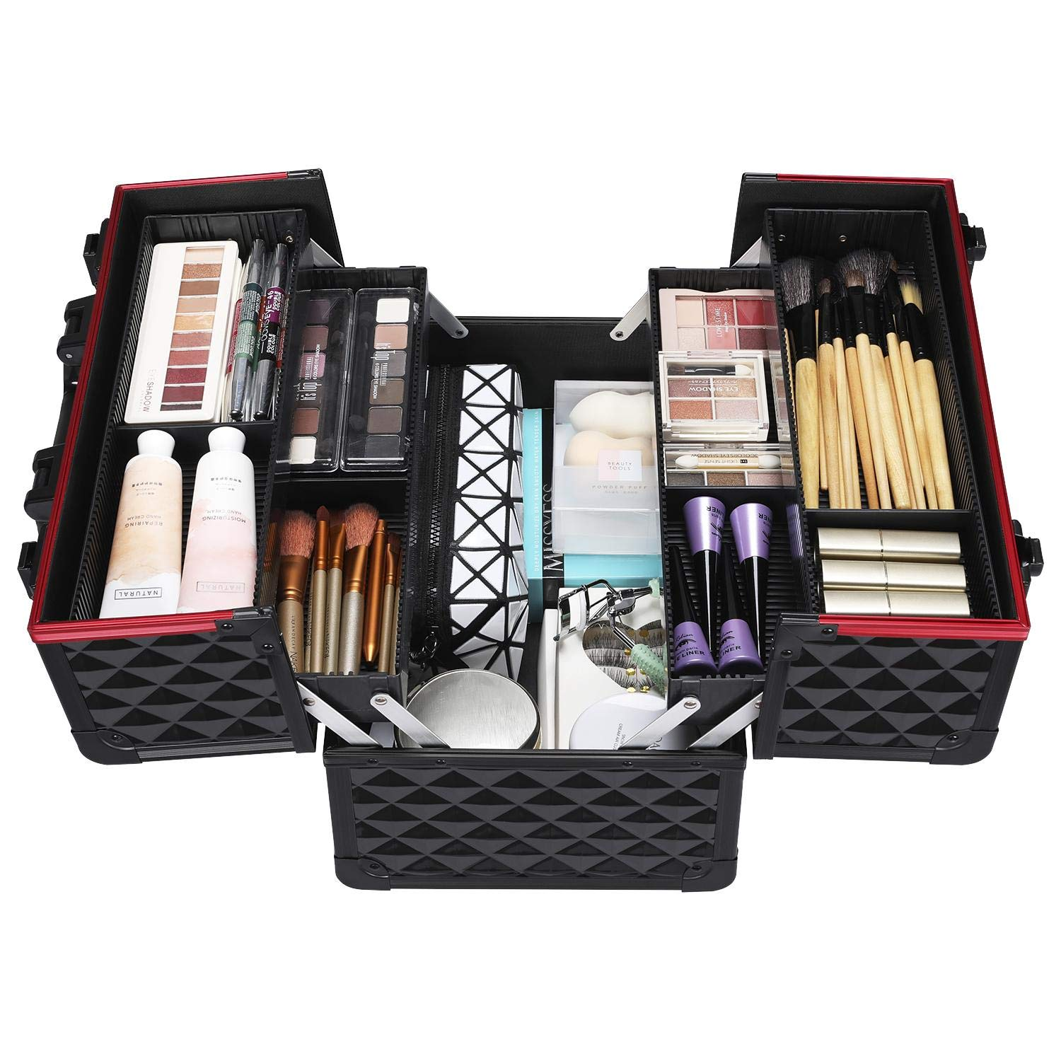 Trays allowing access to all the contents for this makeup case