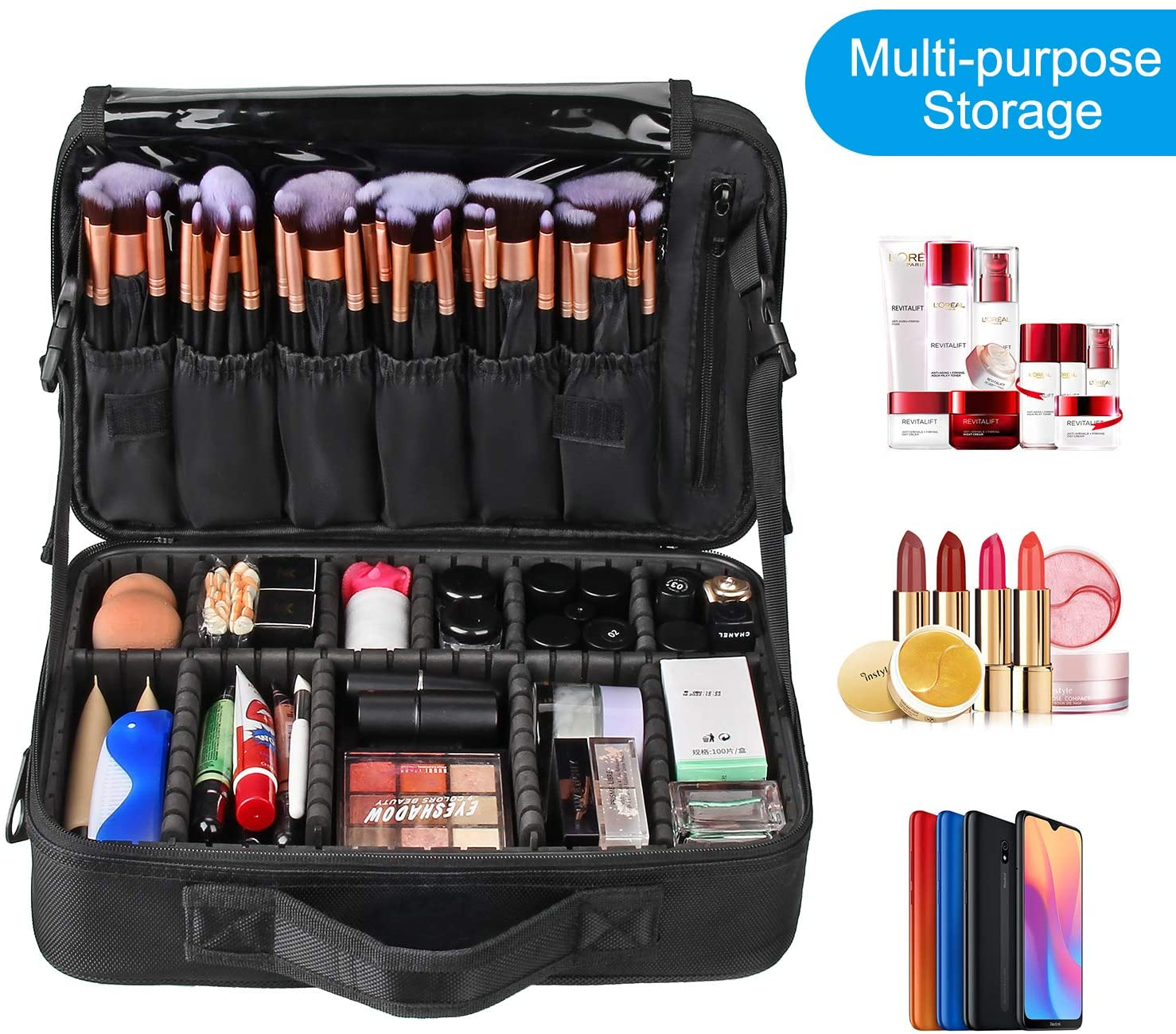 Makeup travel bag with multi-storages