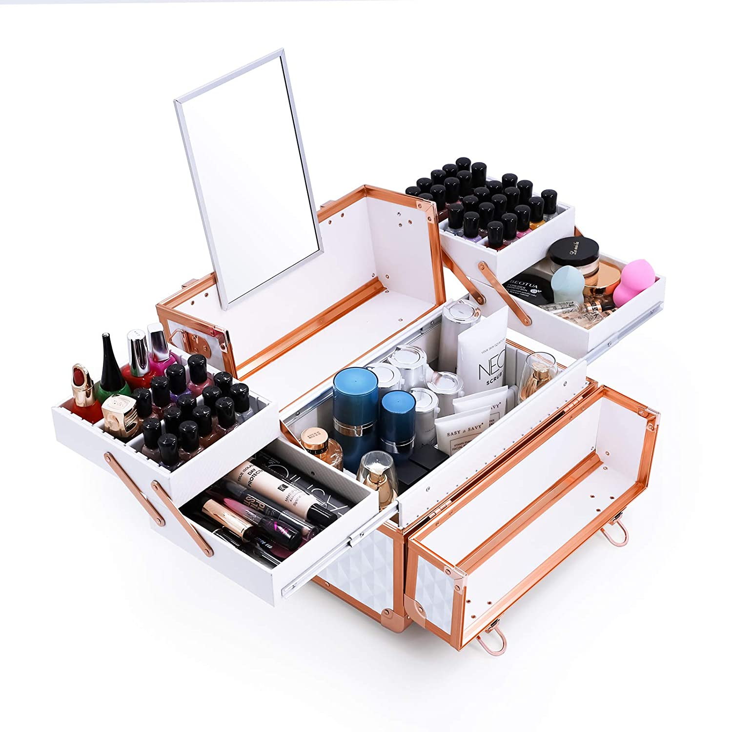 White and pink gold Vanity professional makeup case with mirror Apoke