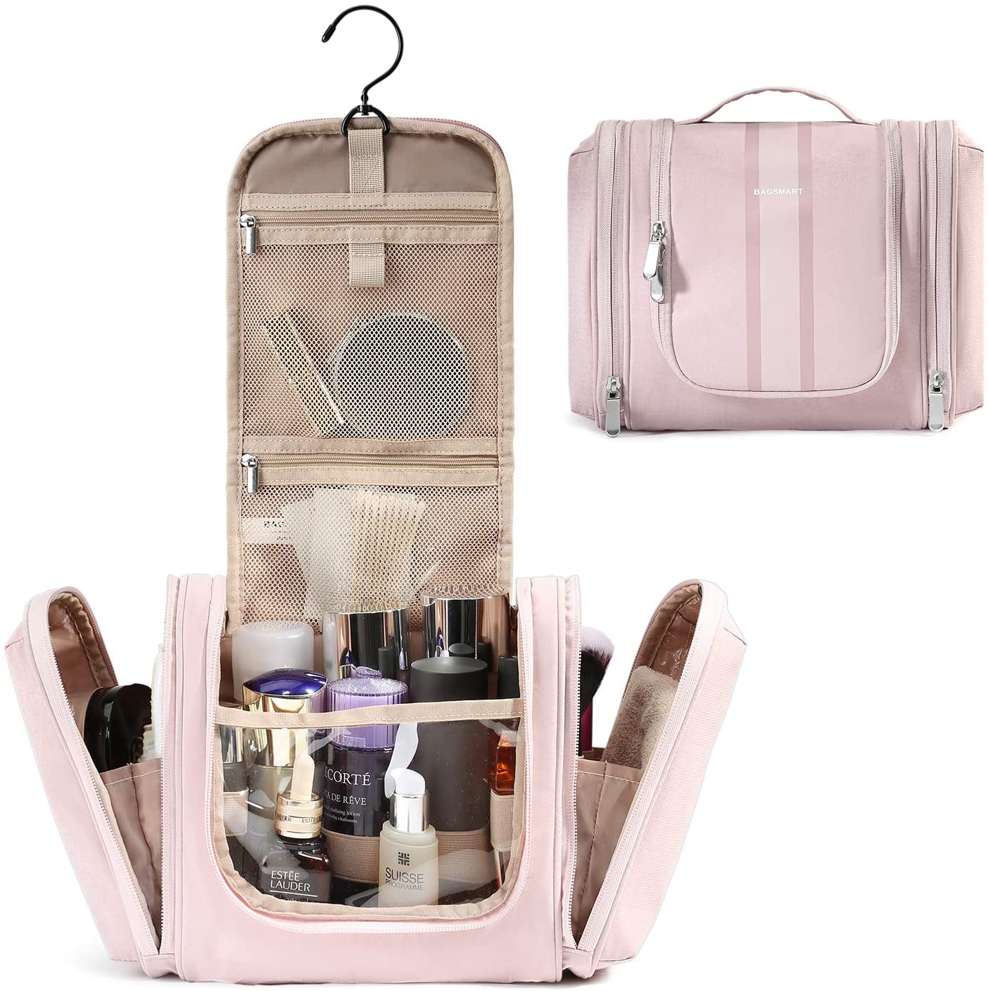 Pink toiletry to hang, to carry makeup and cosmetics on your travels