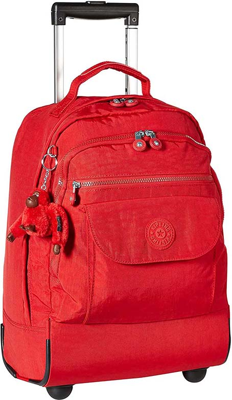 Women's work bag with wheels, Kipling red, medium capacity