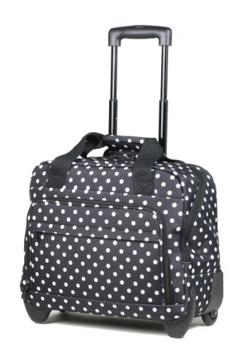 Large work bag on wheels with fancy large polka dot print on navy background