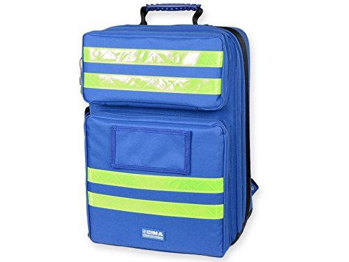 Emergency medical backpack blue and fluorescent yellow