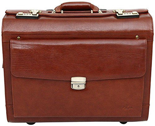 Trolley suitcase made of full grain leather