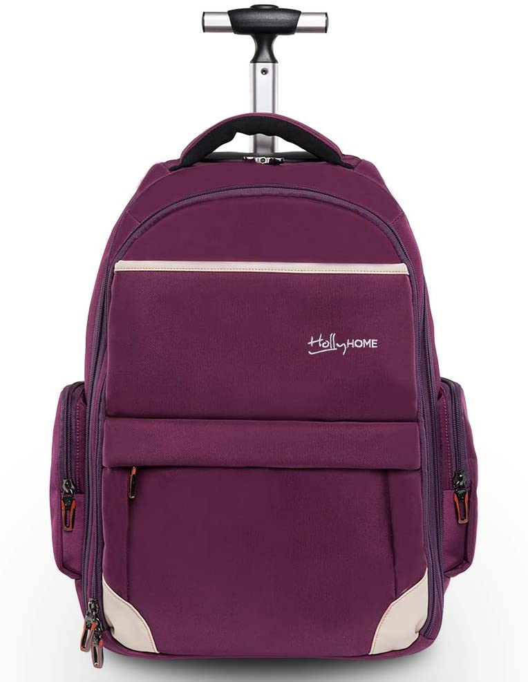 "Waterproof adult bag with wheels for 19"" computer purple"