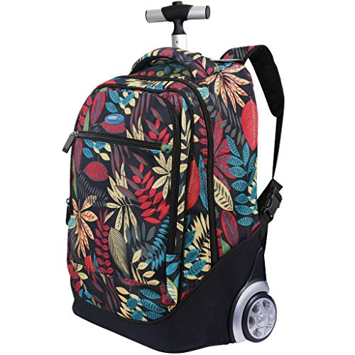Flowery work bag with wheels for woman