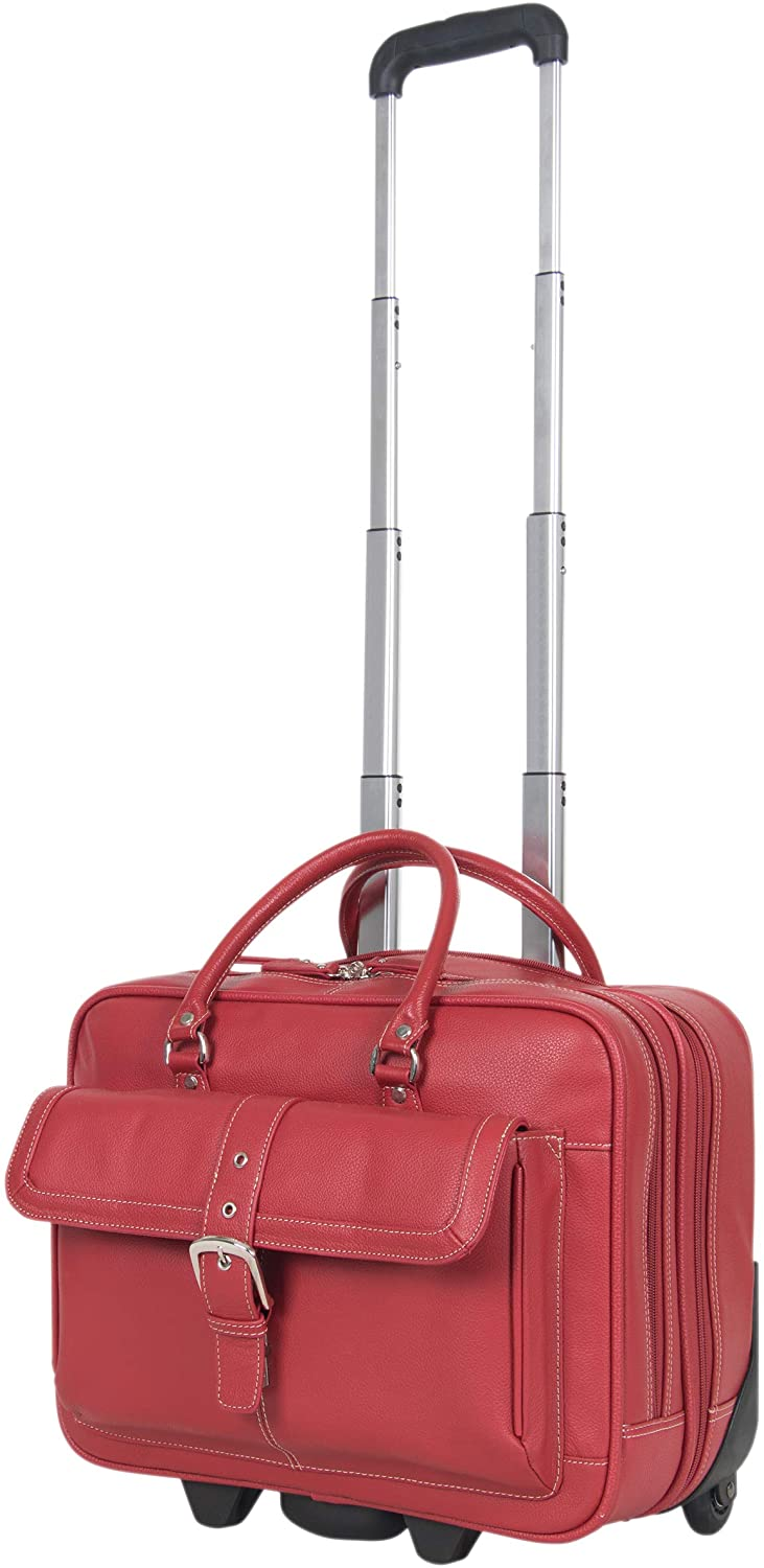 Women's red laptop briefcase made of a genuine full grain